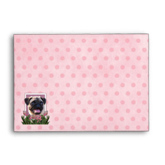 Mothers Day - Pink Tulips - Pug Envelopes