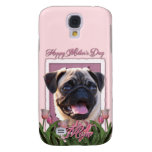 Mothers Day - Pink Tulips - Pug Galaxy S4 Cases