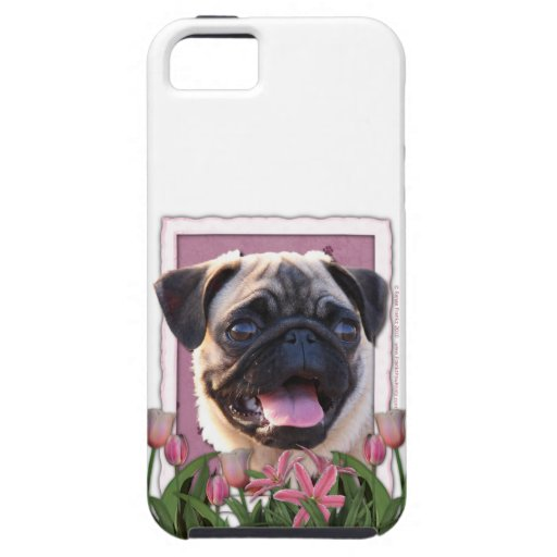 Mothers Day - Pink Tulips - Pug iPhone 5 Covers