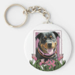 Mothers Day - Pink Tulips - Pug Keychains