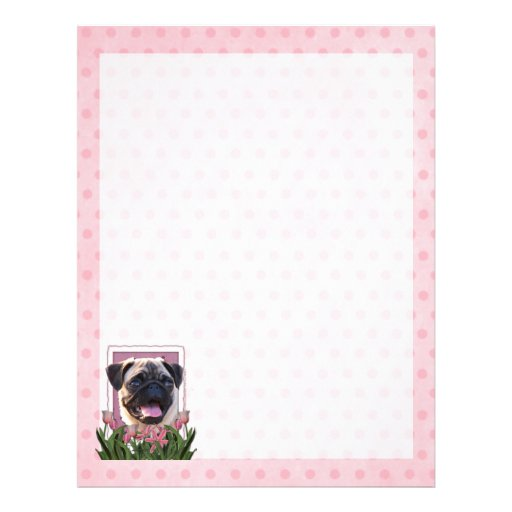 Mothers Day - Pink Tulips - Pug Letterhead