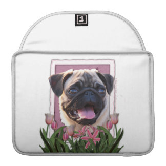 Mothers Day - Pink Tulips - Pug MacBook Pro Sleeve