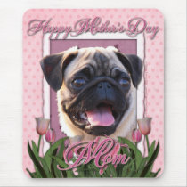 Mothers Day - Pink Tulips - Pug Mouse Pad