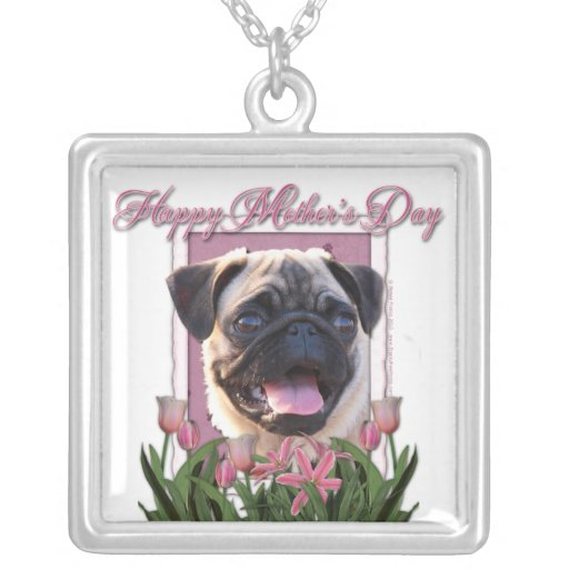 Mothers Day - Pink Tulips - Pug Square Pendant Necklace