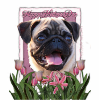 Mothers Day - Pink Tulips - Pug Standing Photo Sculpture