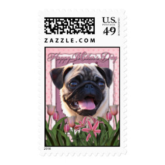 Mothers Day - Pink Tulips - Pug Stamps