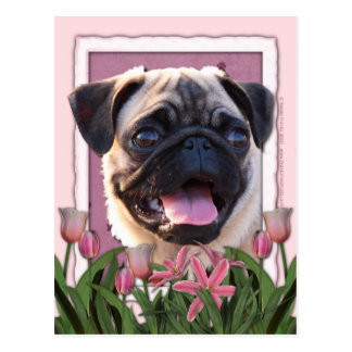 Mothers Day - Pink Tulips - Pug Post Cards