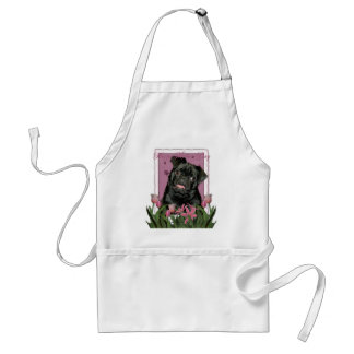 Mothers Day - Pink Tulips - Pug - Ruffy Adult Apron