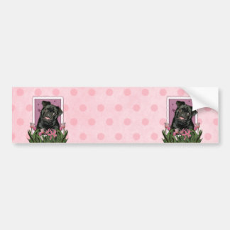 Mothers Day - Pink Tulips - Pug - Ruffy Car Bumper Sticker