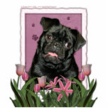 Mothers Day - Pink Tulips - Pug - Ruffy Cut Out