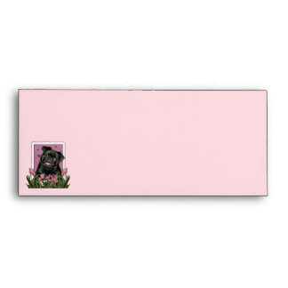 Mothers Day - Pink Tulips - Pug - Ruffy Envelope