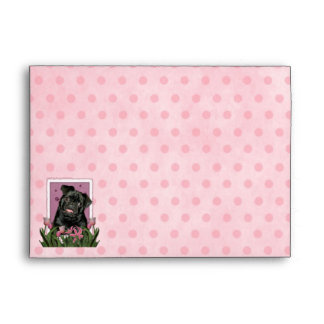 Mothers Day - Pink Tulips - Pug - Ruffy Envelopes