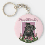 Mothers Day - Pink Tulips - Pug - Ruffy Key Chain