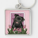 Mothers Day - Pink Tulips - Pug - Ruffy Keychain