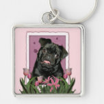Mothers Day - Pink Tulips - Pug - Ruffy Keychains