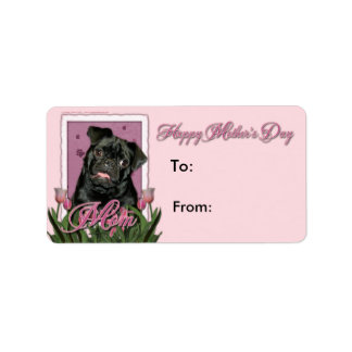Mothers Day - Pink Tulips - Pug - Ruffy Personalized Address Labels