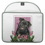 Mothers Day - Pink Tulips - Pug - Ruffy MacBook Pro Sleeve