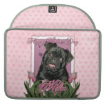 Mothers Day - Pink Tulips - Pug - Ruffy Sleeve For MacBook Pro