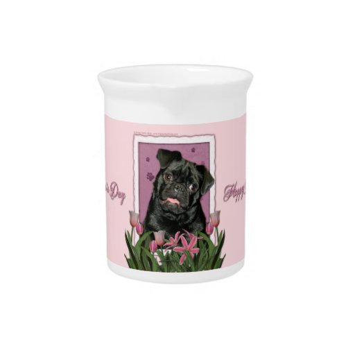 Mothers Day - Pink Tulips - Pug - Ruffy Pitchers