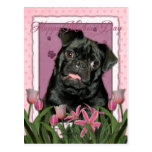 Mothers Day - Pink Tulips - Pug - Ruffy Post Card
