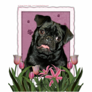 Mothers Day - Pink Tulips - Pug - Ruffy Statuette
