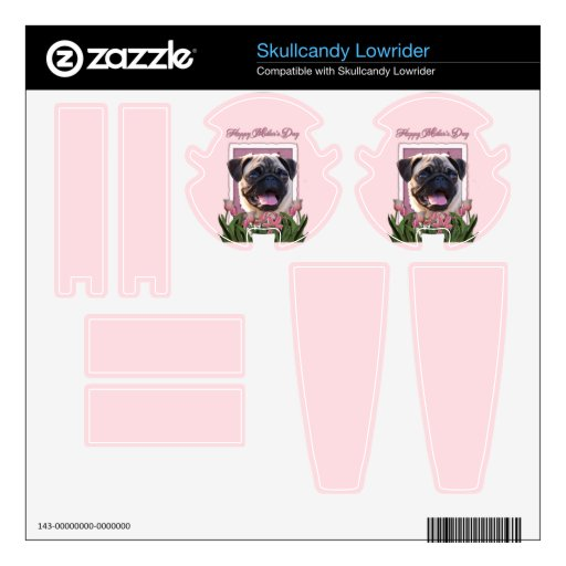 Mothers Day - Pink Tulips - Pug Skullcandy Lowrider Decal