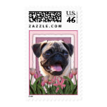 Mothers Day - Pink Tulips - Pug Stamp