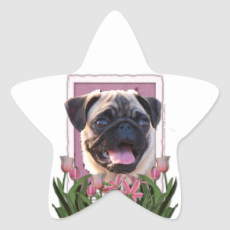 Mothers Day - Pink Tulips - Pug Star Sticker