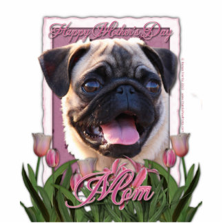 Mothers Day - Pink Tulips - Pug Statuette