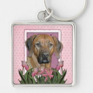 Mothers Day - Pink Tulips - Rhodesian Ridgeback Key Chains