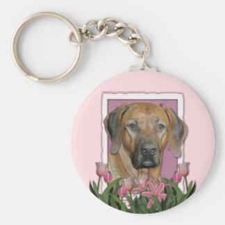 Mothers Day - Pink Tulips - Rhodesian Ridgeback Keychain