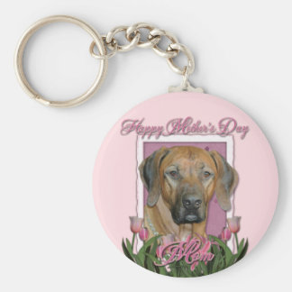 Mothers Day - Pink Tulips - Rhodesian Ridgeback Key Chain