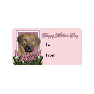 Mothers Day - Pink Tulips - Rhodesian Ridgeback Address Label