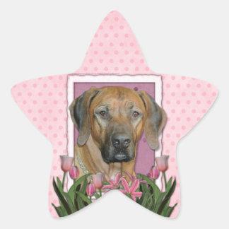 Mothers Day - Pink Tulips - Rhodesian Ridgeback Star Sticker