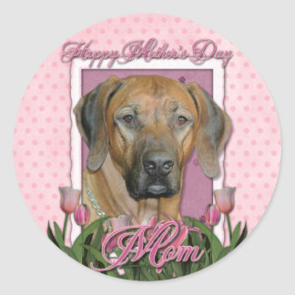 Mothers Day - Pink Tulips - Rhodesian Ridgeback Round Stickers