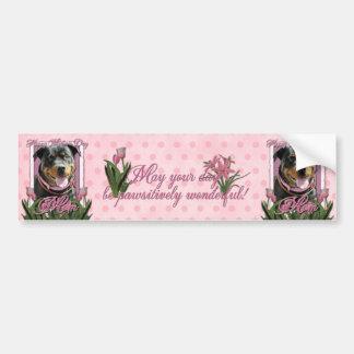 Mothers Day - Pink Tulips - Rottweiler -SambaParTi Bumper Sticker