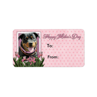 Mothers Day - Pink Tulips - Rottweiler -SambaParTi Custom Address Labels