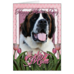 Mothers Day - Pink Tulips - Saint Bernard - Mae Greeting Card