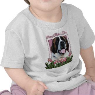 Mothers Day - Pink Tulips - Saint Bernard - Mae Tee Shirts