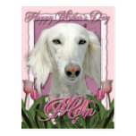 Mothers Day - Pink Tulips - Saluki Post Card