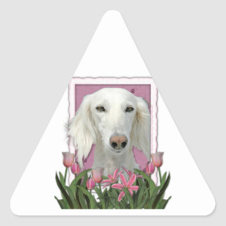 Mothers Day - Pink Tulips - Saluki Stickers