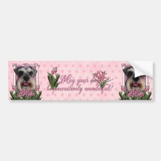 Mothers Day - Pink Tulips - Schnauzer Bumper Sticker