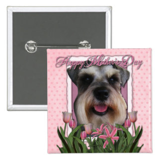 Mothers Day - Pink Tulips - Schnauzer Button