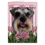 Mothers Day - Pink Tulips - Schnauzer Greeting Card