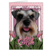Mothers Day - Pink Tulips - Schnauzer Card