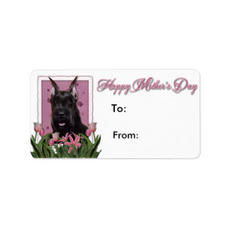 Mothers Day - Pink Tulips - Schnauzer Personalized Address Labels