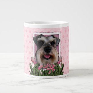 Mothers Day - Pink Tulips - Schnauzer Large Coffee Mug