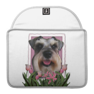 Mothers Day - Pink Tulips - Schnauzer Sleeves For MacBook Pro