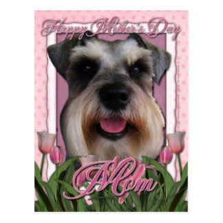 Mothers Day - Pink Tulips - Schnauzer Postcard