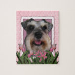 Mothers Day - Pink Tulips - Schnauzer Puzzle